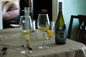 Blending a sample of the saison with a small amount of New Zealand Sauvignon Blanc