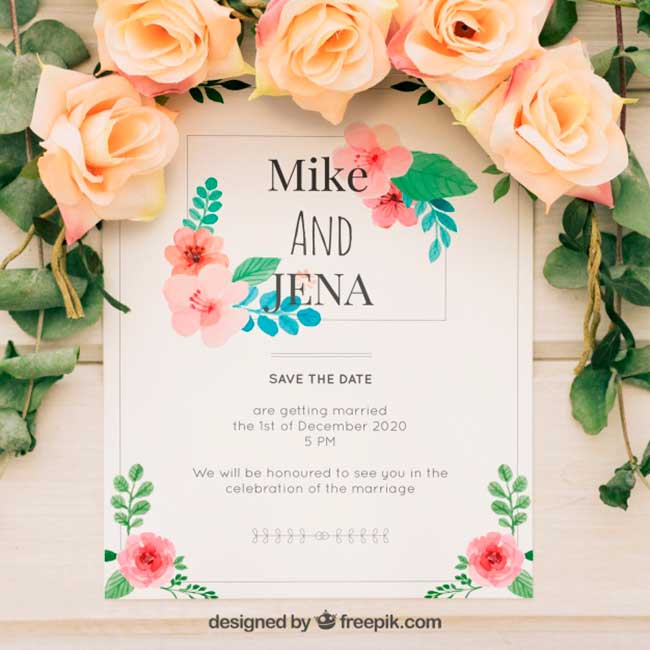 Wedding invitation with watercolor flowers download