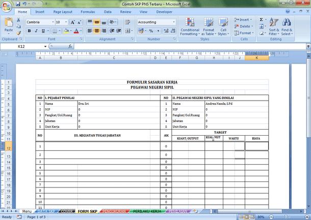 Contoh SKP PNS Terbaru Format Microsoft Excel