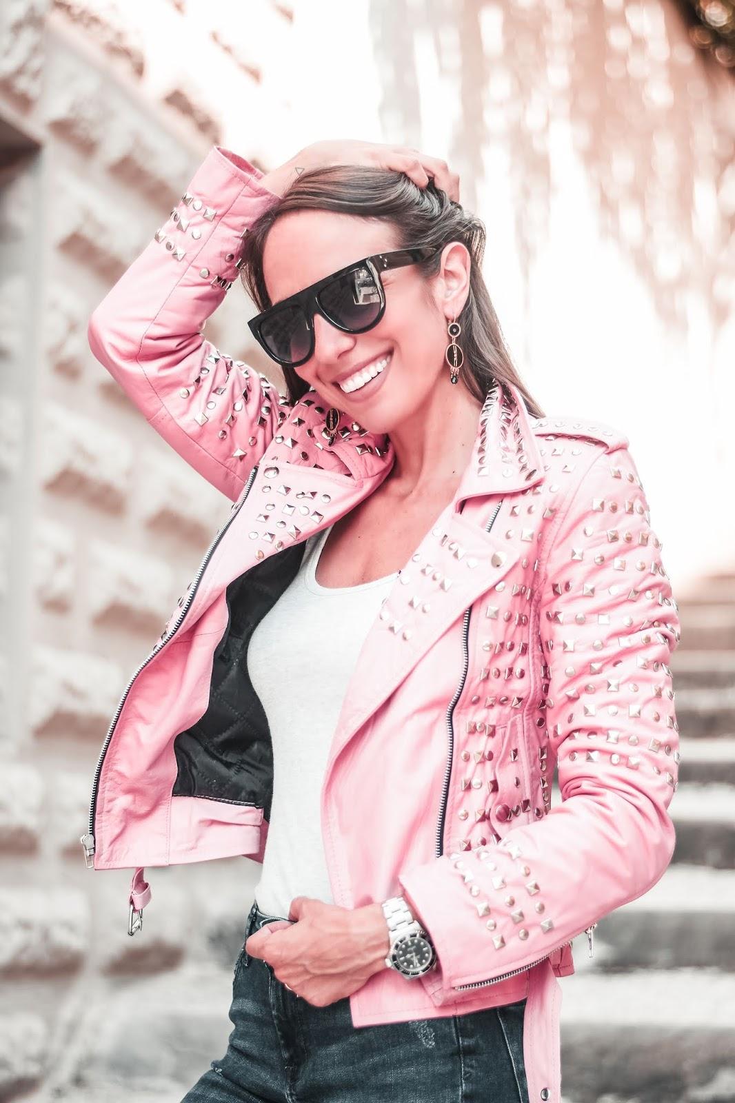 giacca pelle rosa borchiata