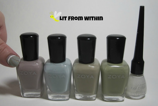 Bottle shot:  Zoya Eastyn, Lake, Misty, and Ireland, with my white striper.