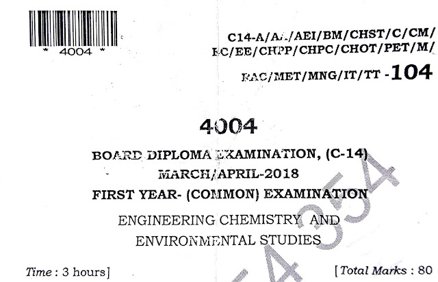 C-14 DIPLOMA CHEMISTRY PREVIOUS QUESTION PAPERS MARCH-APRIL-2018