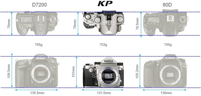 Сравнение габаритов Pentax KP, Nikon D7200 и Canon 80D