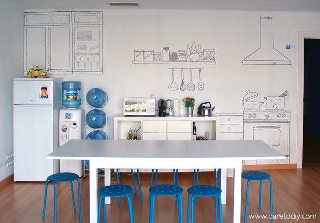 Dare to diy decoraci n diy transformando una oficina for Decoracion de paredes para oficinas