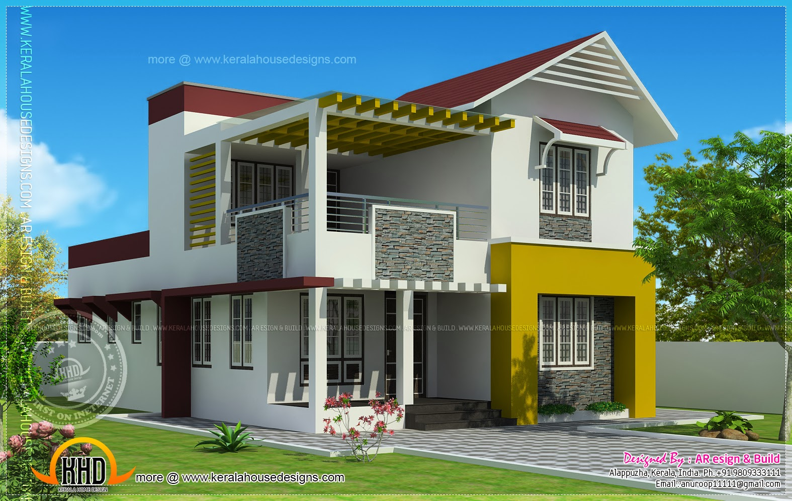 Kerala home design and floor plans 1900 square feet for Small villa plans in kerala