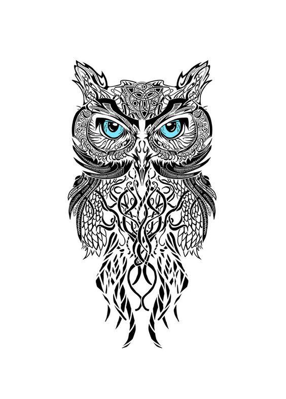 Great Horned Owl Black And Grey Tattoo TATTOOS IDEIAS - PARA ...