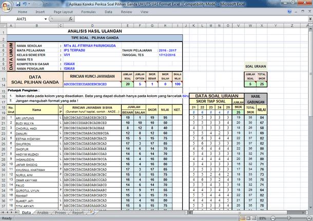 Aplikasi Koreksi Periksa Soal Pilihan Ganda UH UTS UAS Format Excel