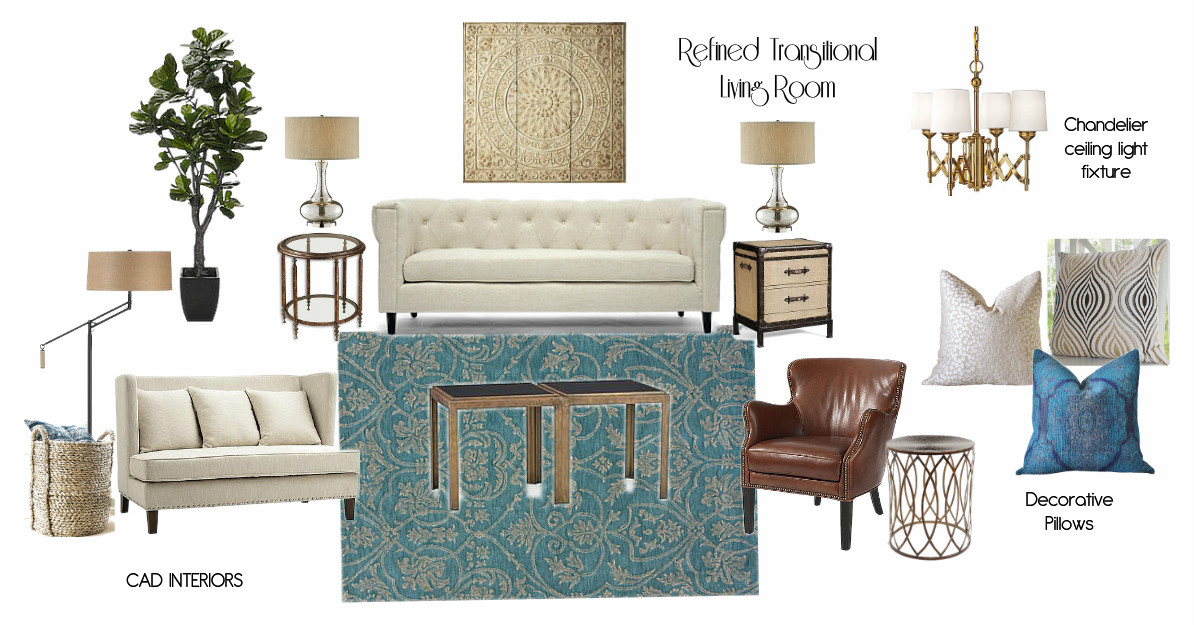 Transitional Living Room With Coastal Vibe And Blue: Affordable Stylish Interiors
