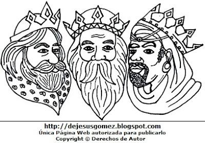 Rostros de los Reyes Magos para colorear pintar imprimir. Dibujo fácil de los Reyes Magos de Jesus Gómez