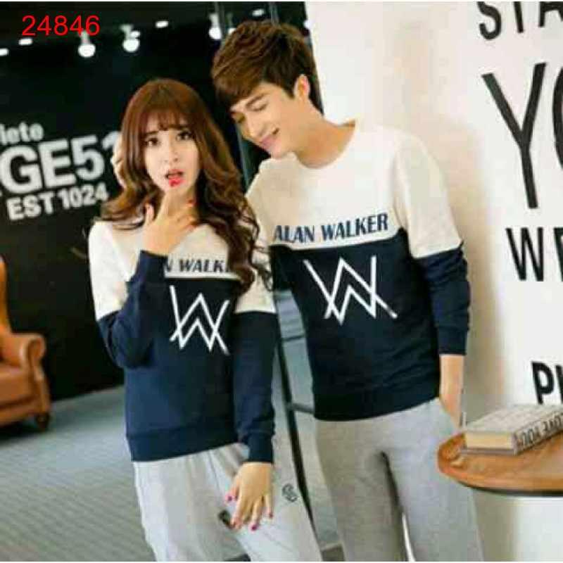 Jual Sweater Couple Sweater Alan Walker Duo White Navy - 24846