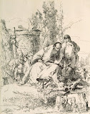 Seated Wizard, a Boy and Four Men by Giovanni Battista Tiepolo - Mythology Art Prints from Hermitage Museum