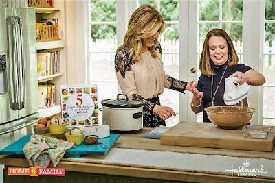 Stephanie O'Dea and Debbie Matenopoulos making flourless brownies in the crockpot slow cooker on the Home & Family TV Show