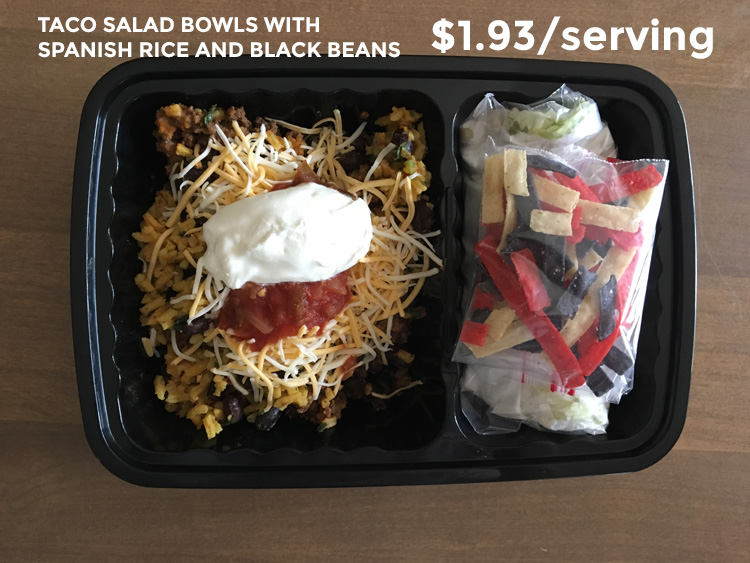 taco salad bowls with spanish rice and black beans
