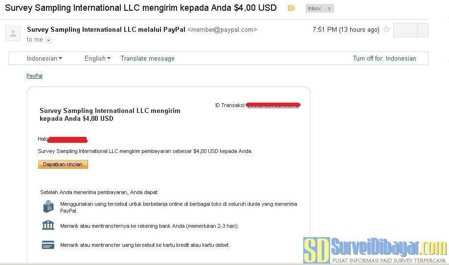 Bukti Online Survey OpinionWorld Indonesia Membayar Dengan