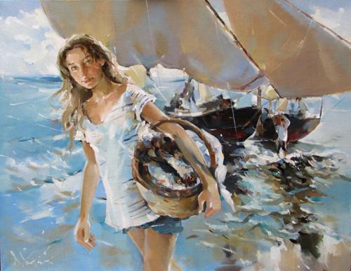 Картина ассоль, морской пейзаж, импрессионизм