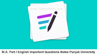 MA English Part 1 Important Questions Notes (Classical Poetry) PU