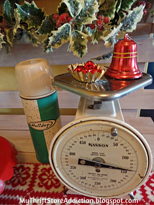 A Holly Jolly Jadeite Kitchen mythriftstoreaddiction.blogspot.com A season vignette created with a vintage scale, thermos and jingle bells