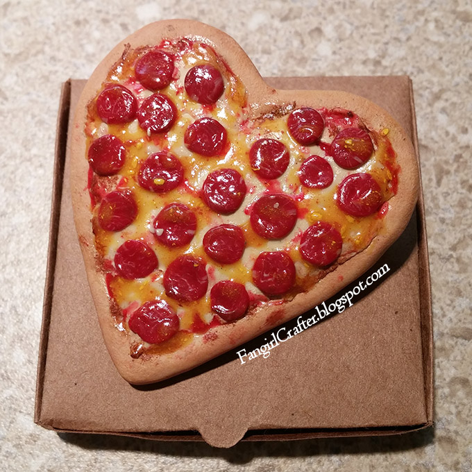 Heart-Shaped Pepperoni Pizza Brooch