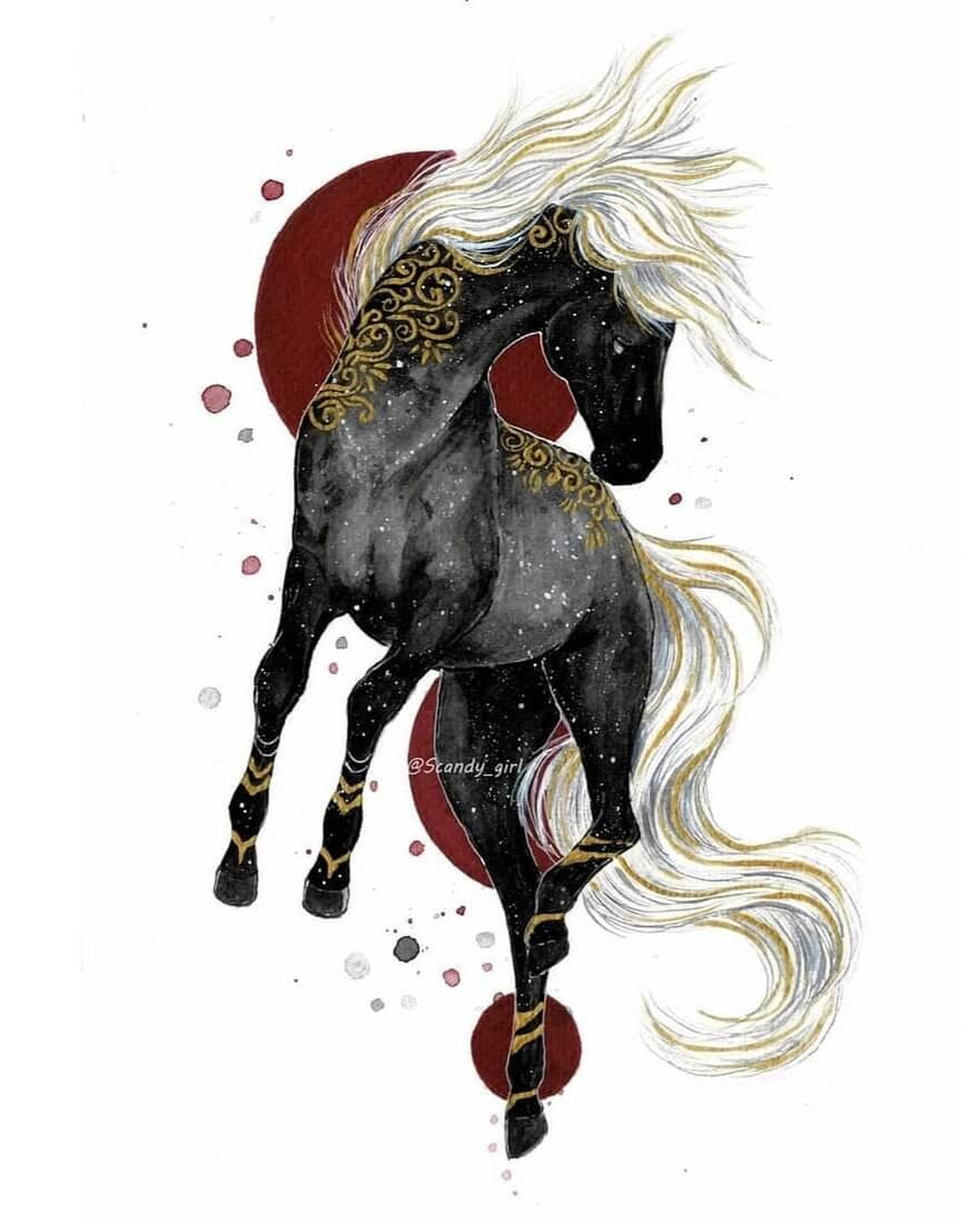 07-Horse-Jonna-Hyttinen-Animals-Mixture-of-Drawings-and-Paintings-www-designstack-co