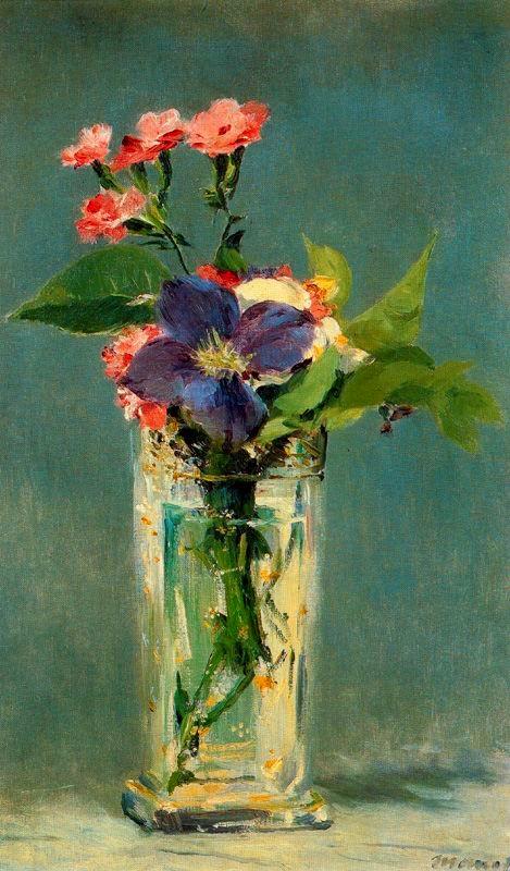 Clavells i clematis en un gerro de cristall (Édouard Manet)