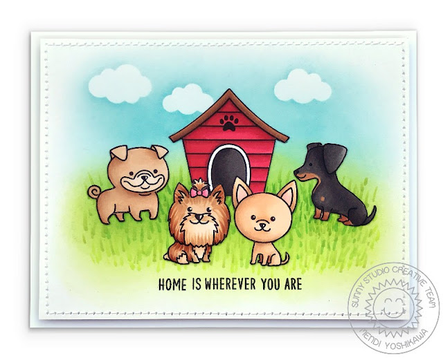 Sunny Studio Stamps: Puppy Dog Kisses & Puppy Parents Home Is Where You Card Dog House Card by Mendi Yoshikawa