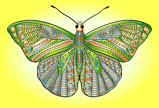 Mariposa estilo Mandala - Vector y cliart