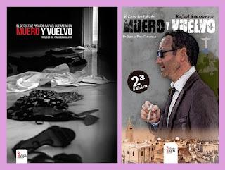 portadas de la novela policiaca Muero y Vuelvo, de Rafael Guerrero