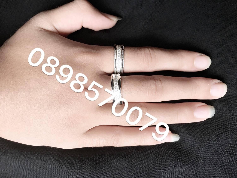 Nhẫn bạc lông voi cặp đôi đính đá