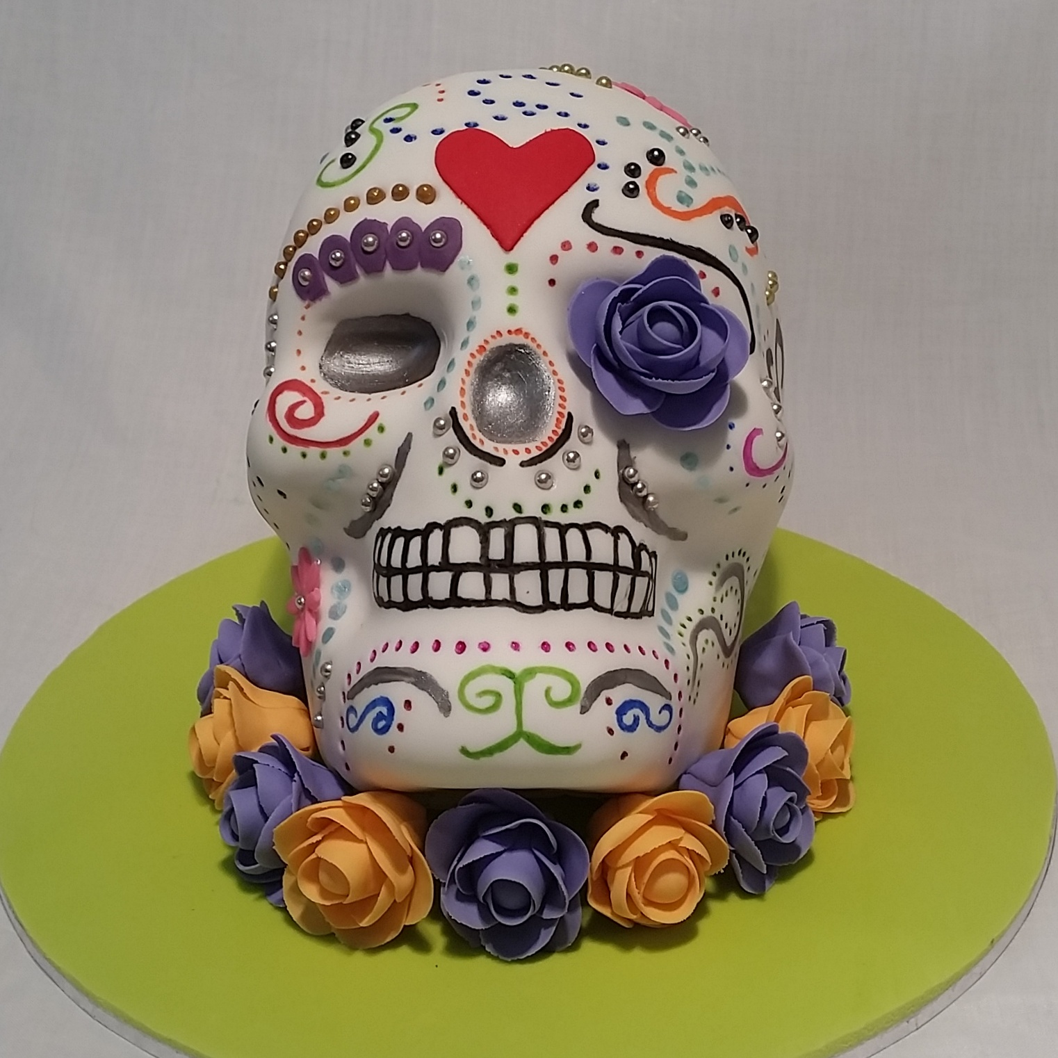 I Absolutely Love This Cake Was Asked To Make A Crazy Halloween For Girls 11th Birthday The 3D Skull Marbled Orange