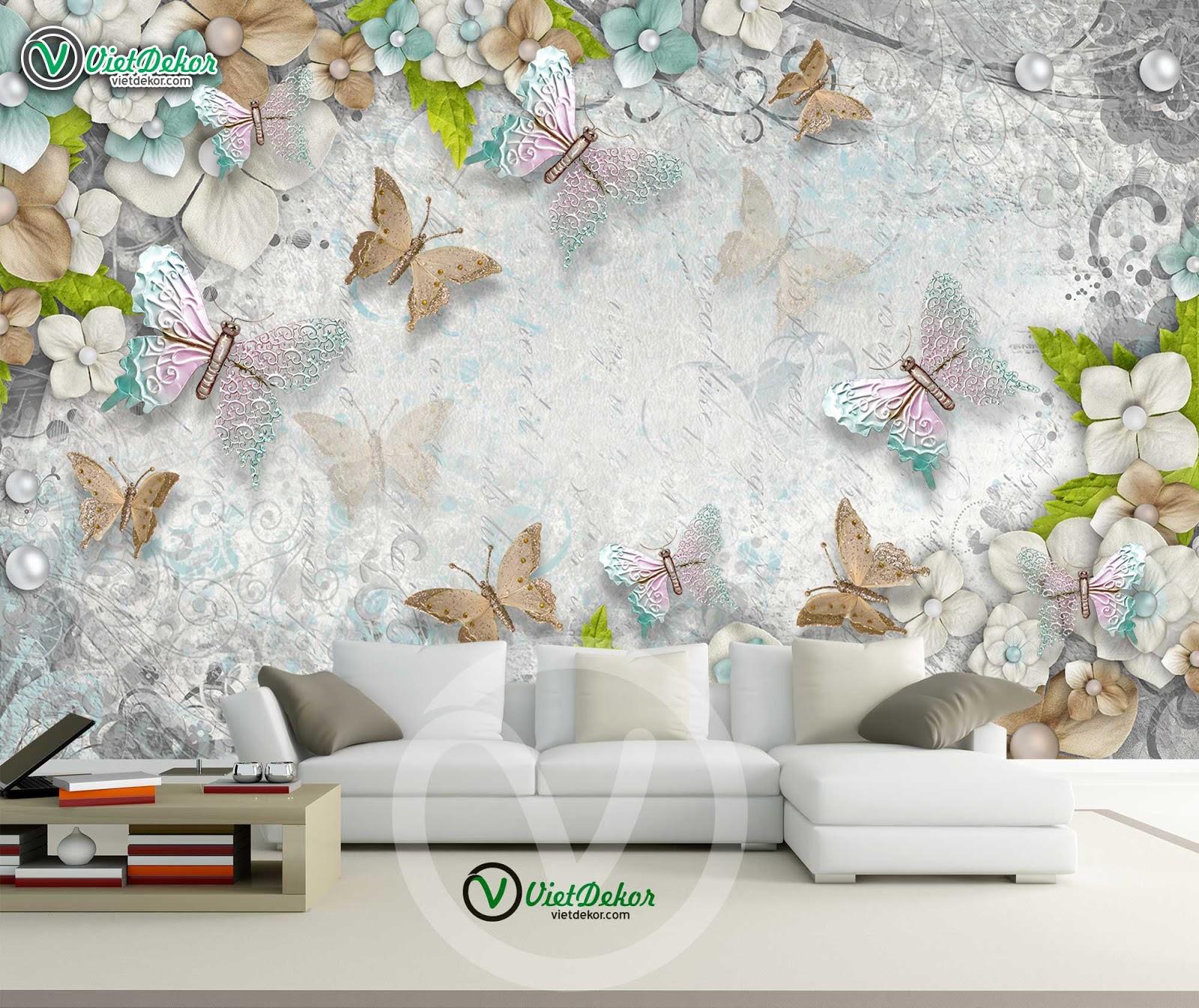 Tranh dán tường hoa bướm 3D đẹp