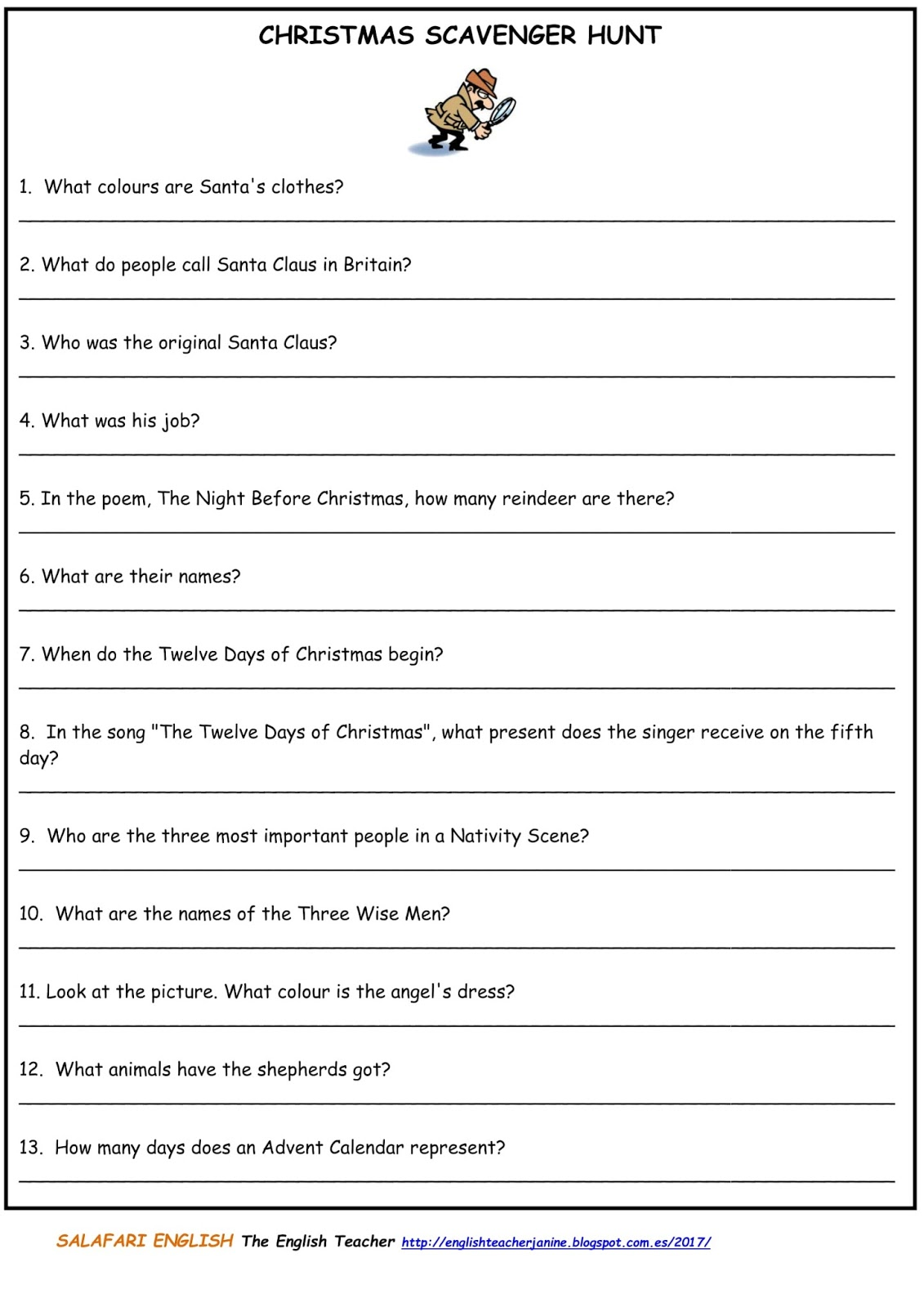 The English Teacher Christmas Activities A1