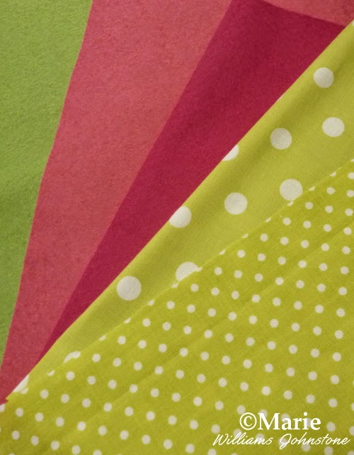 Spring color fabrics and felts for a craft project