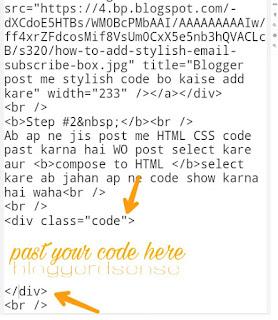 Add coding box in blogger