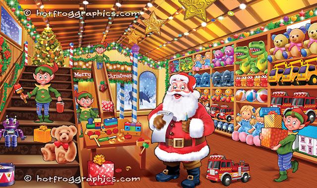 Illustration of Santa's workshop by hotfroggraphics.com