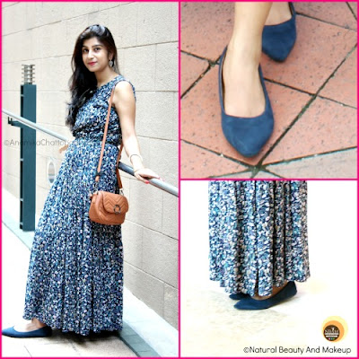 Anamika Chattopadhyaya wearing blue flat ballerinas, affordable shoes from Cotton On, Hong Kong, Central, NBAM blog