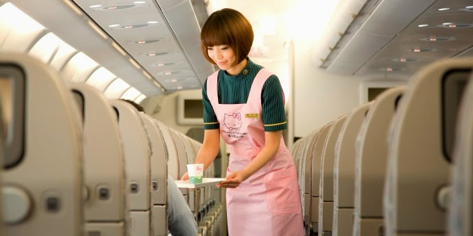 EVA Air Stewardess in Hello Kitty Airline Outfit