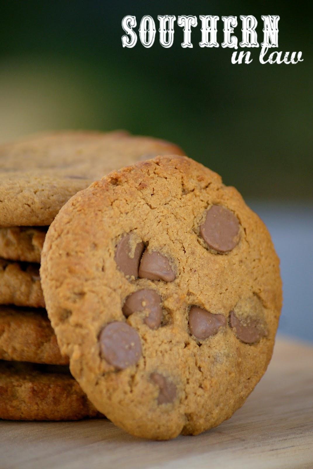 Healthy Peanut Butter Chocolate Chip Cookie Recipe - low fat, gluten free, healthy, low sugar - Peanut Flour Cookies Recipe