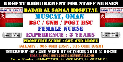 STAFF NURSE VACANCY IN OMAN PVT HOSPITAL BADAR AL SAMAA