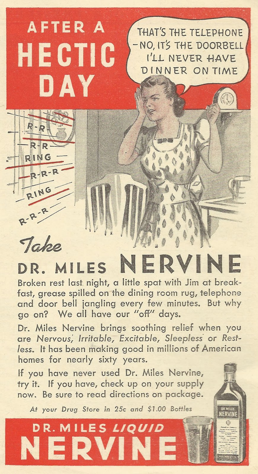 Old Ads Are Funny: 1940 ad: Take Dr  Miles Nervine after a