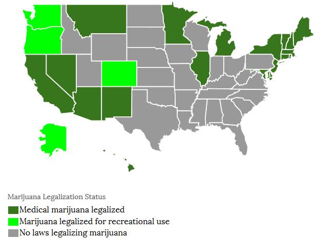 図:アメリカ大麻マップ