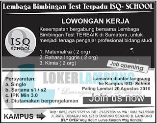 Peluang Karir di ISQ School Bandar Lampung Terbaru Agustus 2016