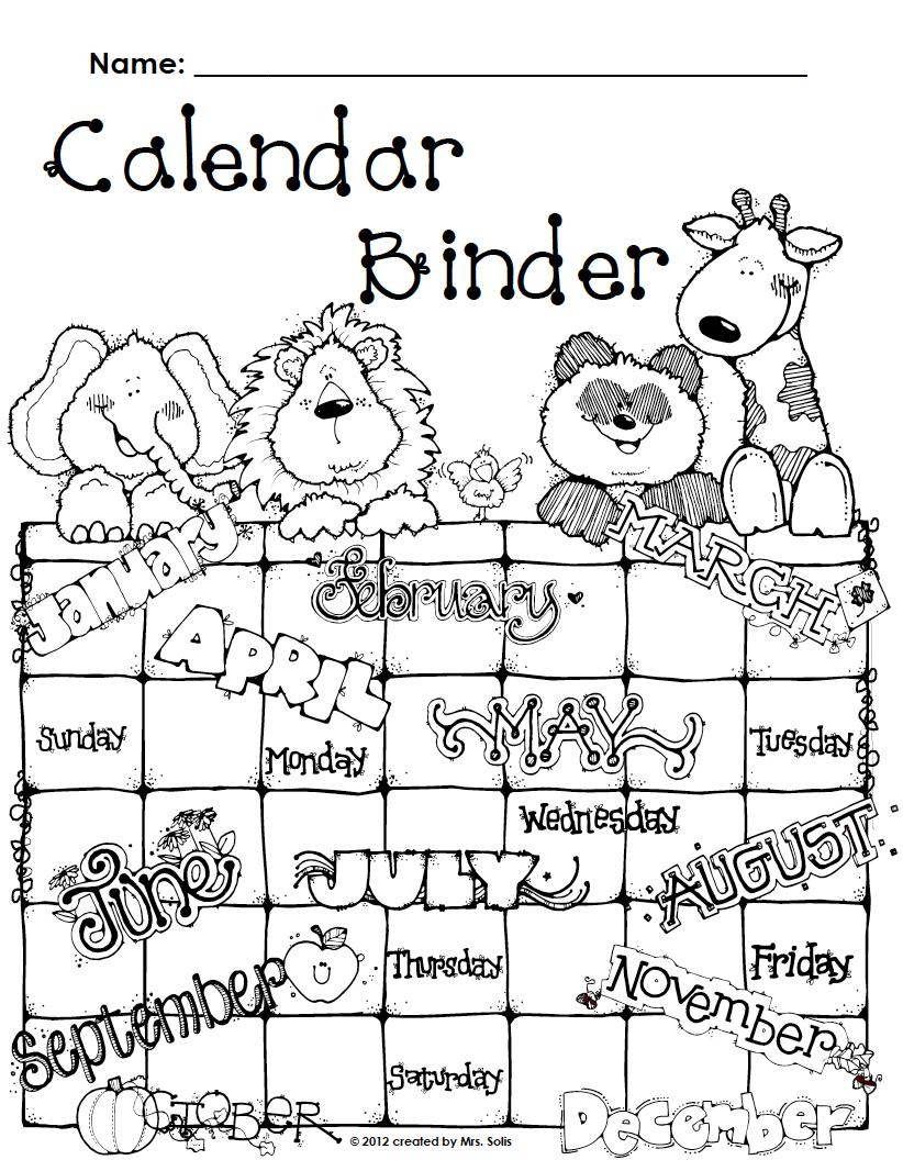 Mrs. Solis's Teaching Treasures: Calendar Binder Covers