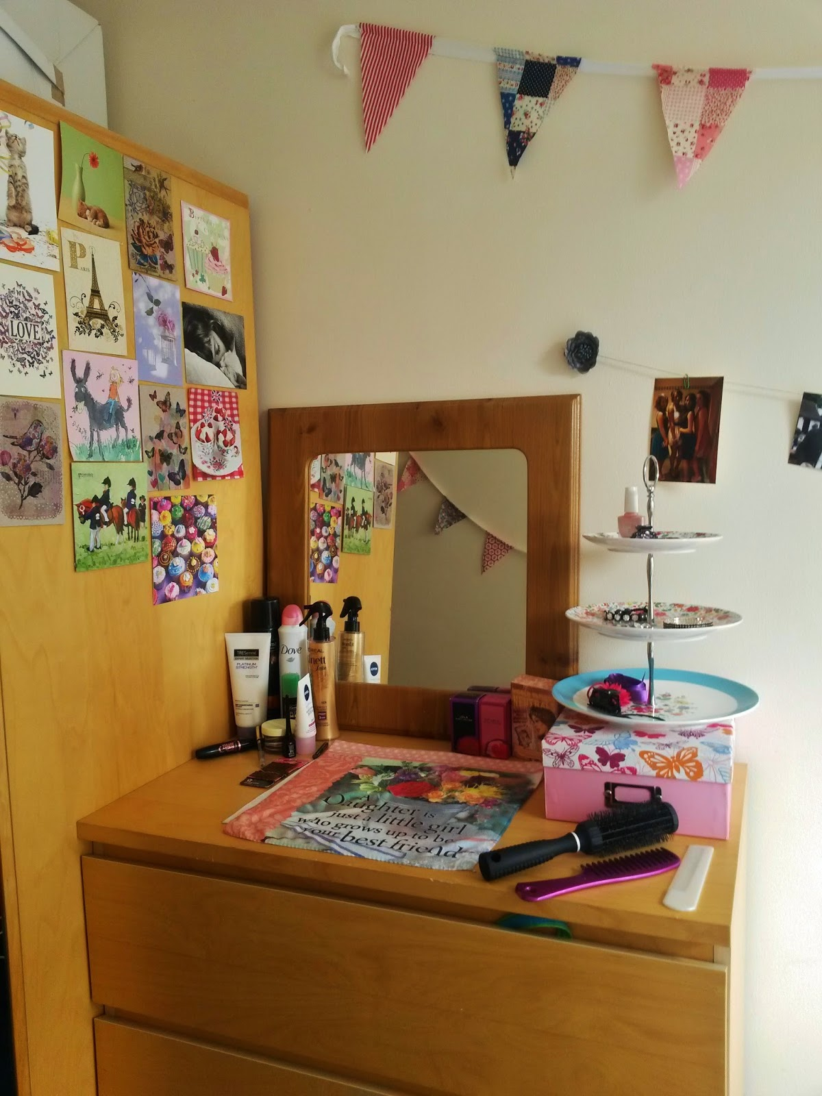 Dressing table and postcards, university bedroom