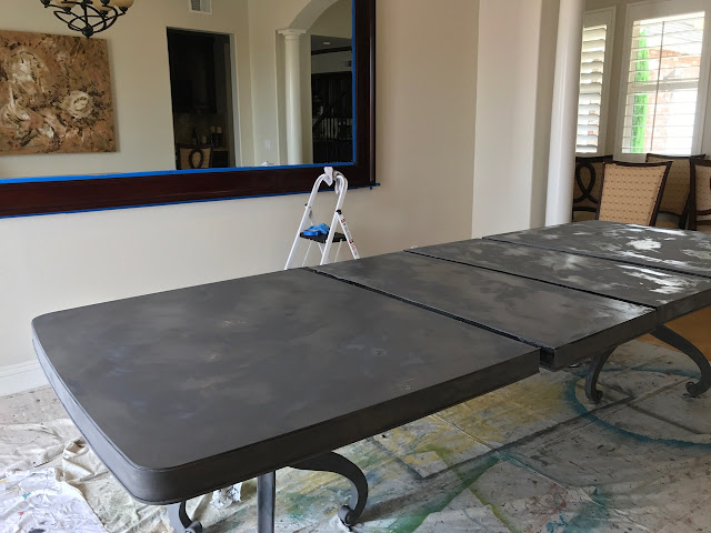 First coat of paint on the table