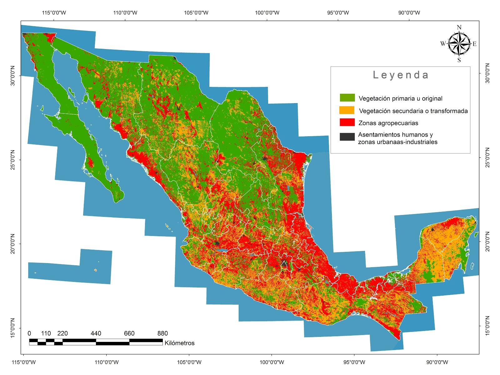 Mapa de la vegetaci n primaria secundaria y usos de suelo for 4 usos del suelo en colombia