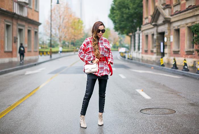 plaid coat with belt, storets coco check jacket with belt, chanel mini flap, karen walker super duper sunglasses, blanknyc moto pants, everlane boss booties, shanghai street style, san francisco fashion blog