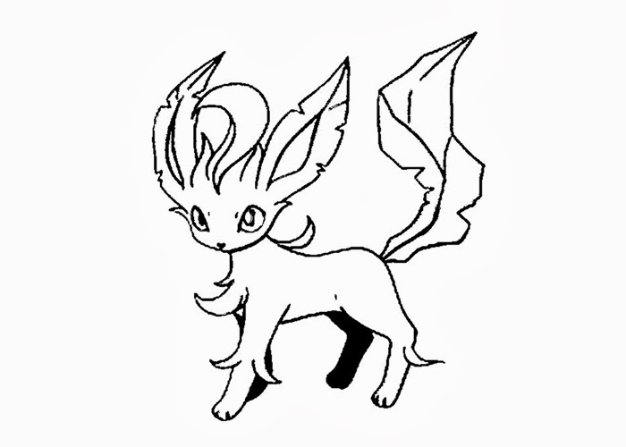 sketch with leafeon eevee coloring pages