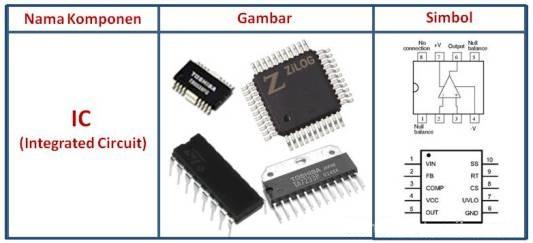komponen elektronika jenis IC berikut yang dilengkapi dengan gambar dan simbol