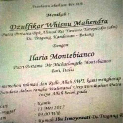 Undangan penikahan Dzulfikar Dan Ilaria Montebianco