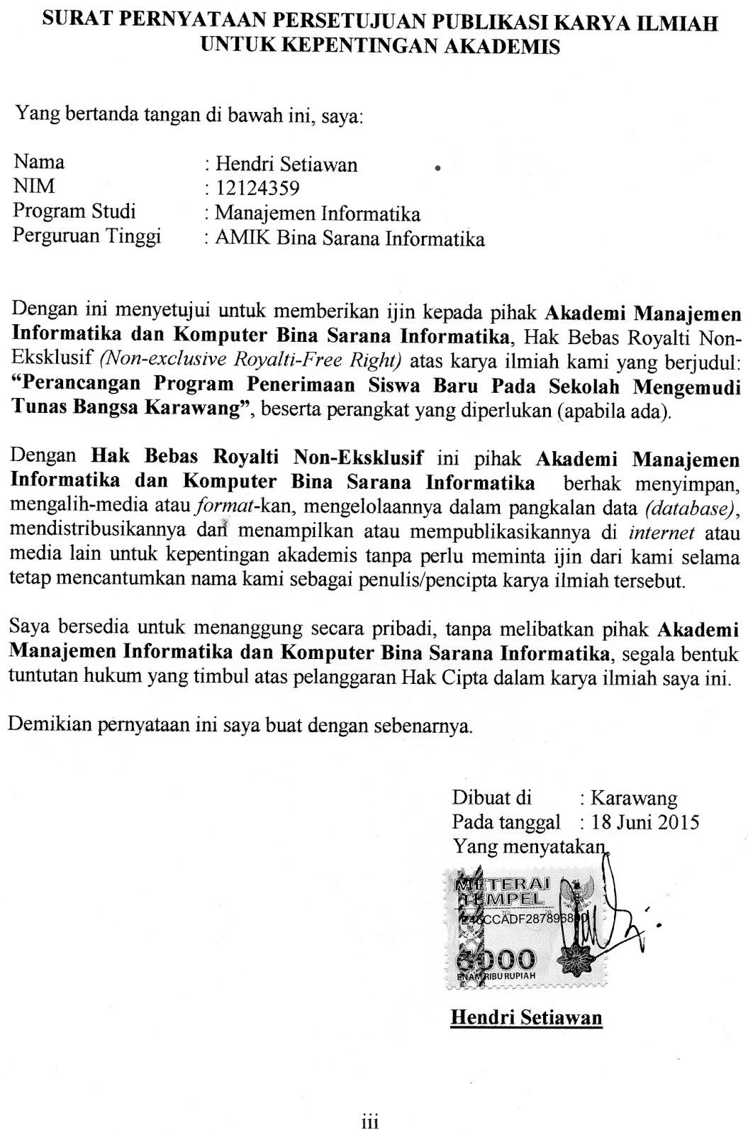 contoh surat pernyataan persetujuan publikasi karya ilmiah untuk kepentingan akademis hendri